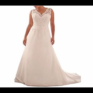 🆕Applique with Beading Long Wedding Dress